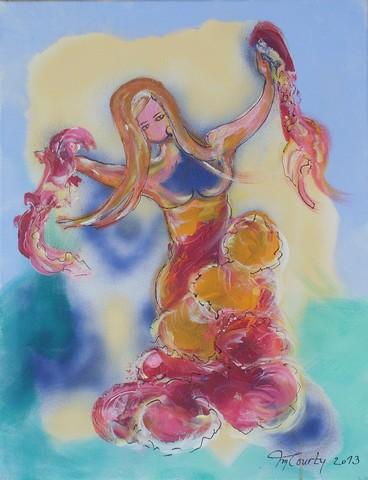 Flamenco : peinture acrylique sur toile 65 cm x 50 cm