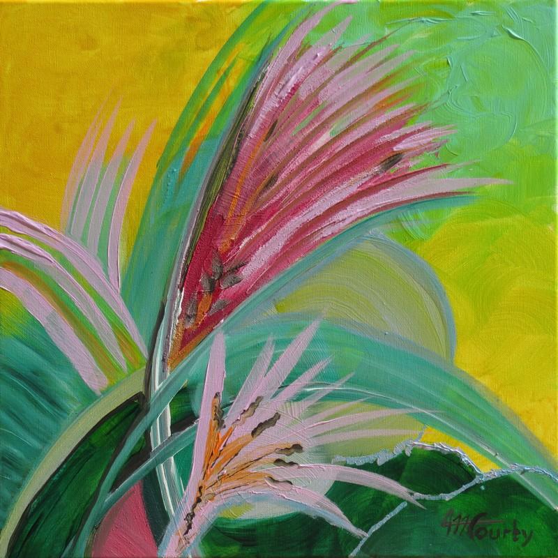 Fleurs au vent : peinture acrylique sur toile 50 x 50 cm