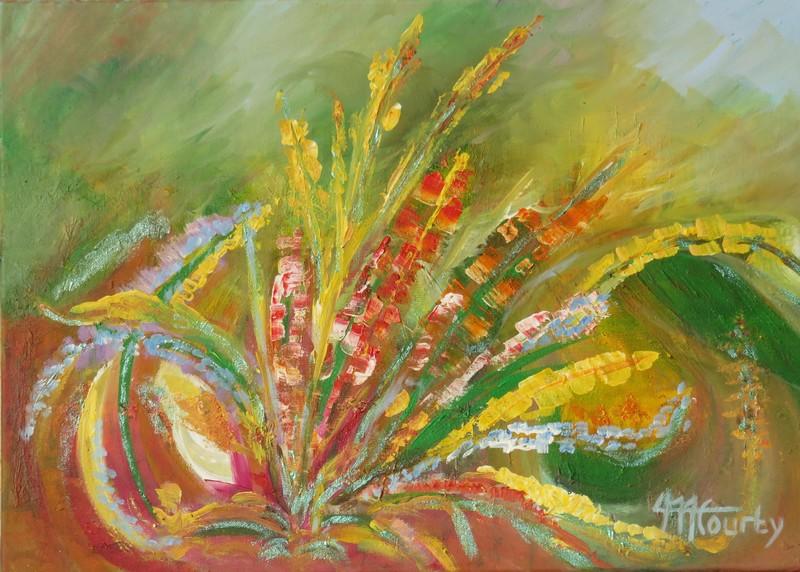 Fleurs automnales : peinture acrylique sur toile 70 cm x 50 cm