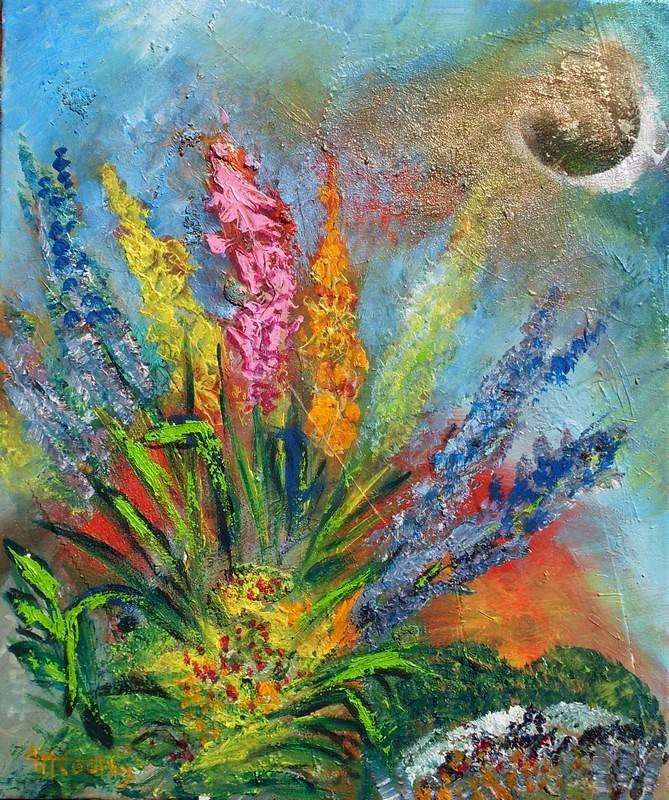 Fleurs au clair de lune : peinture acrylique sur toile avec collages