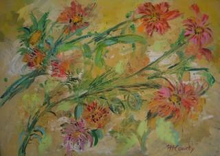 Fleurs couchées : peinture acrylique sur toile 70 x 50 cm - Mai 2013