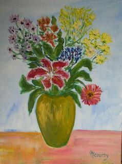 Fleurs d`été : peinture acrylique sur toile 61 cm x 46 cm
