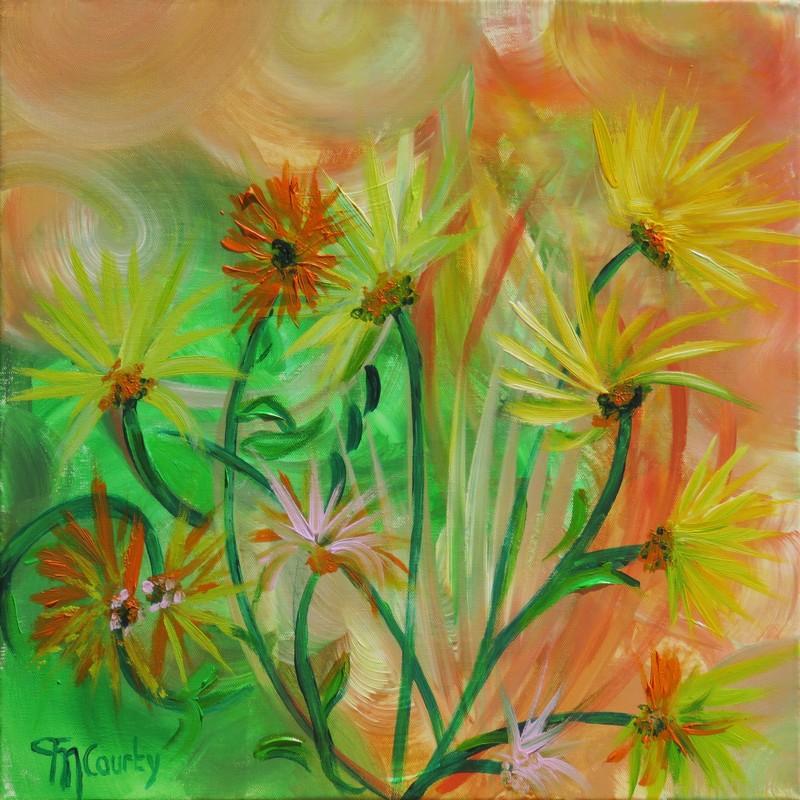 Fleurs de garrigue : peinture acrylique sur toile 50 x 50 cm
