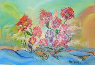 Fleurs magiques : peinture acrylique sur toile 50 cm  x 73 cm
