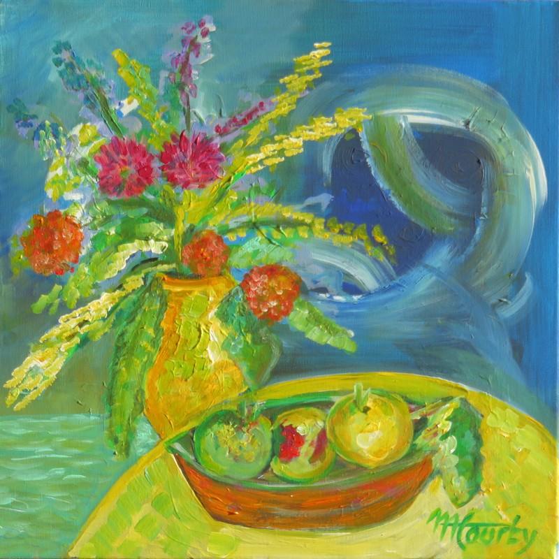 Fleurs-pommes : peinture acrylique sur toile 50 cm x 50 cm
