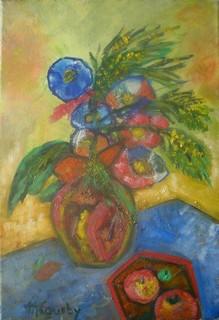Fleurs et pommes : Peinture à l`huile sur toile 38 cm x 55 cm