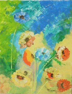 Fleurs de printemps : peinture acrylique sur toile 50 cm x 65 cm