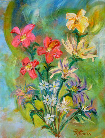 Fleurs variées : peinture acrylique sur toile 65 cm x 50 cm