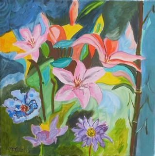 Fleurs modernes :  peinture acrylique sur toile 60 cm x 60 cm