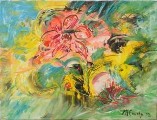 Fleurs au soleil : peinture acrylique sur toile 50 cm x 65 cm