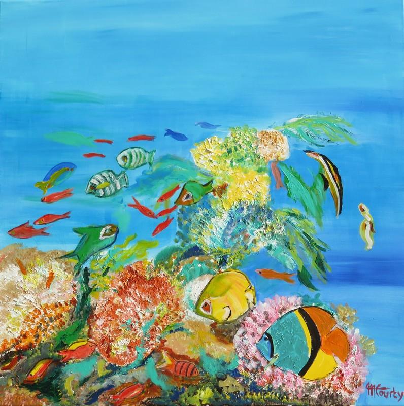 Fond marin tropical :peinture acrylique sur toile 80 cm x 80 cm