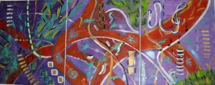 Fond marin : Peinture acrylique sur toile Triptyque : 3 fois 55 cm x 46 cm