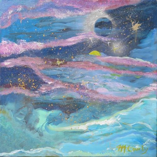 Galaxie : peinture acrylique sur toile (peinture à effets)