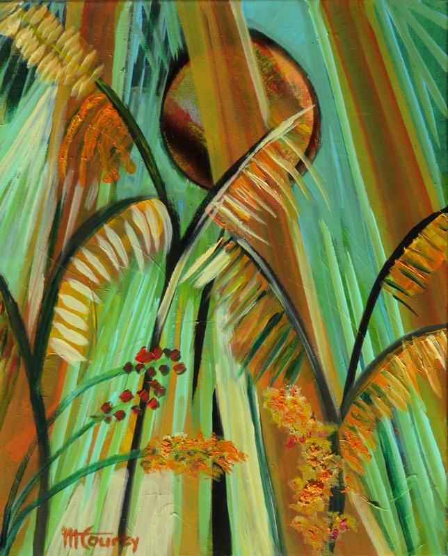 Graminées : peinture acrylique sur toile 55 cm x 46 cm