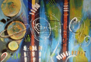 Grand cosmos : peinture acrylique sur toile 73 cm x 50 cm