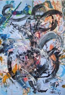 Improvisation : peinture acrylique sur toile 50 cm x 70 cm