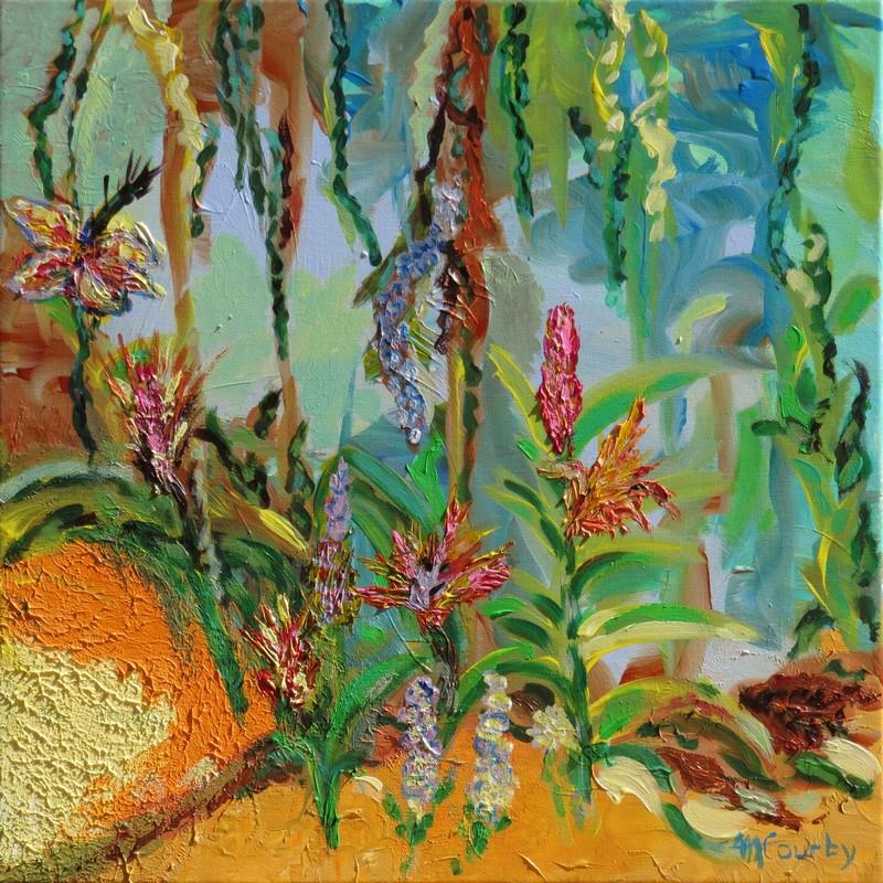 Jardin exotique : peinture acrylique sur toile 50 x 50 cm