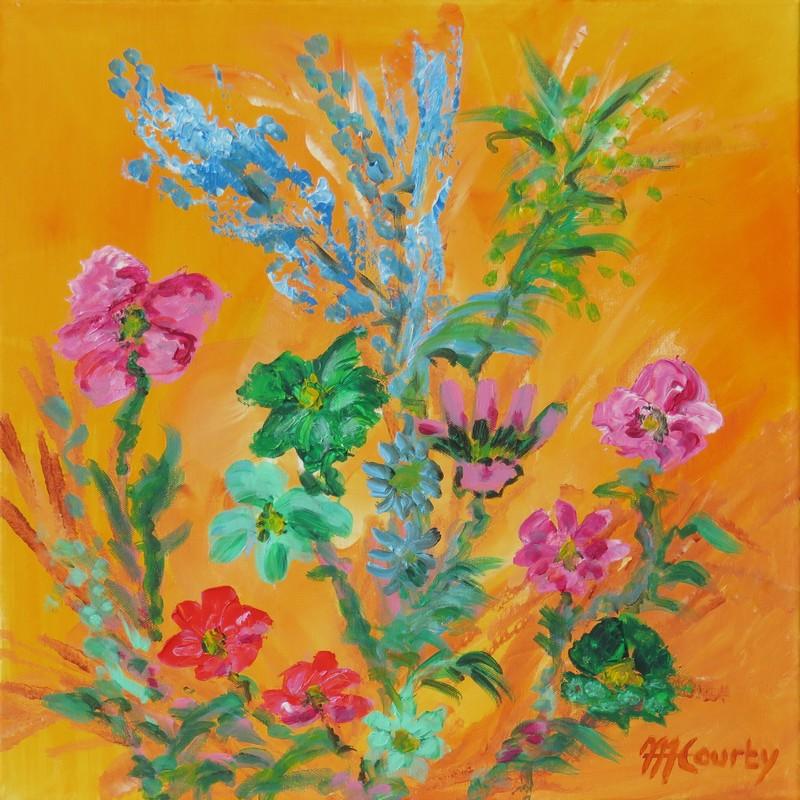 Jardin fleuri : peinture acrylique sur toile 50 x 50 cm