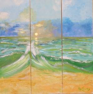 La vague: Peinture acrylique sur toile Triptyque : 3 fois 30 cm x 90 cm