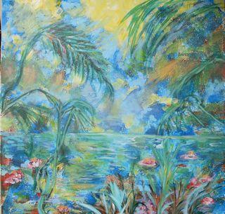 Le lac bleu : Peinture acrylique sur toile 8à cm x 80 cm