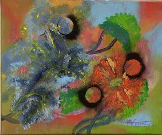 Les trois lunes : peinture acrylique sur toile 38 cm x 46 cm