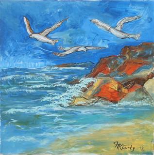 Les trois mouettes : Peinture acrylique sur toile 60 cm x 60 cm