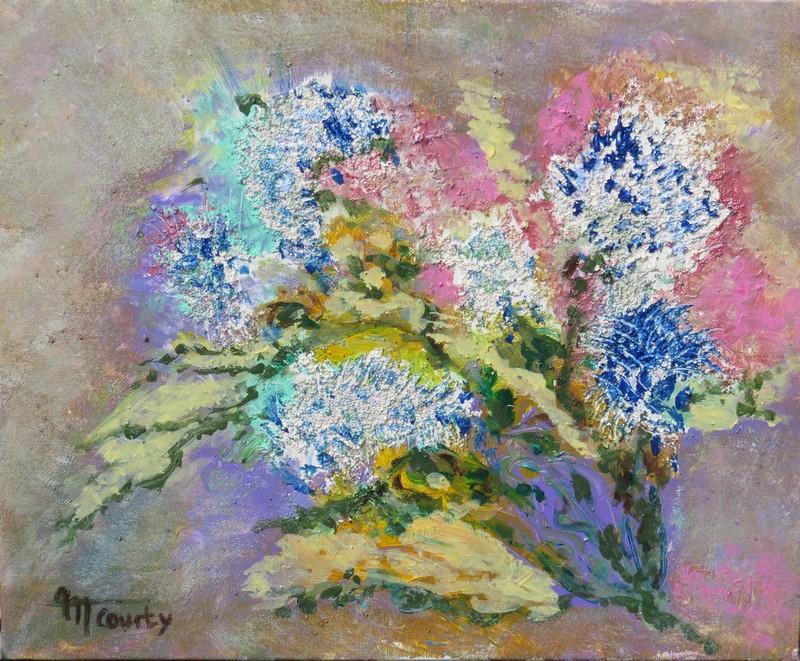 Lilas Blancs : peinture acrylique sur toile 46 cm x 38 cm