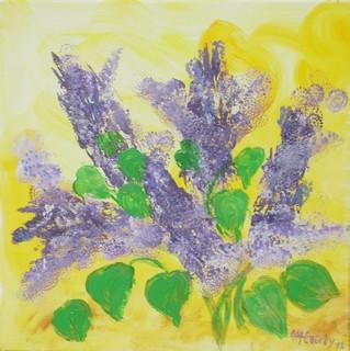 Lilas : peinture acrylique sur toile 50 x 50 cm