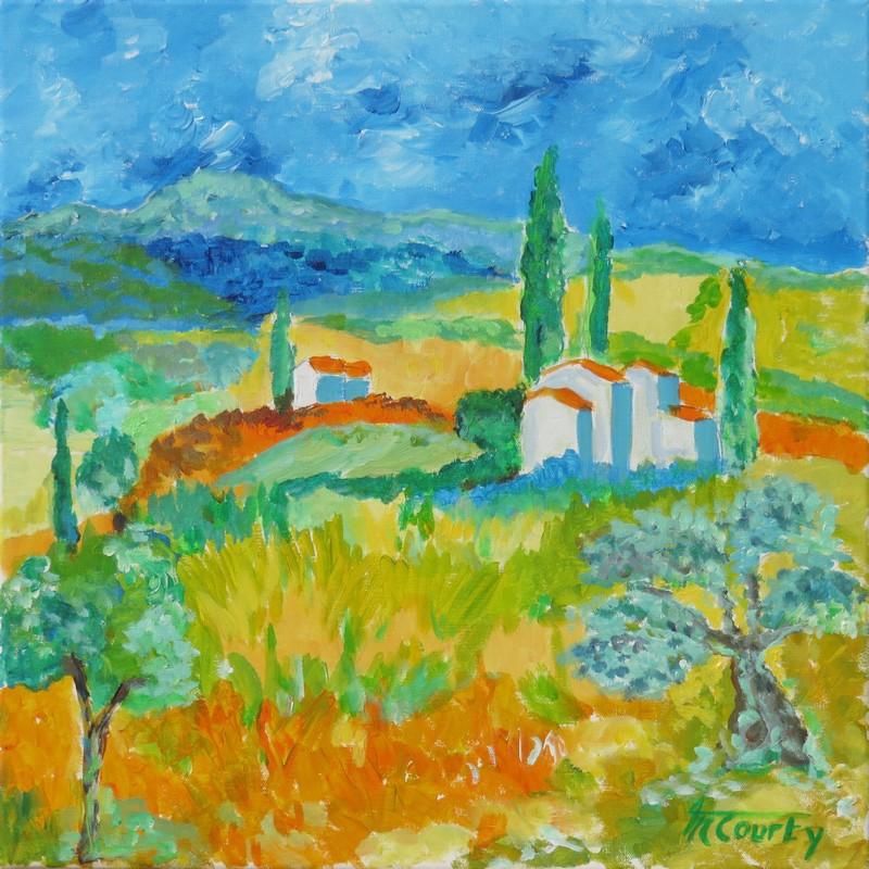 Lumière en Haute Provence : peinture acrylique sur toile 50 cm x 50 cm