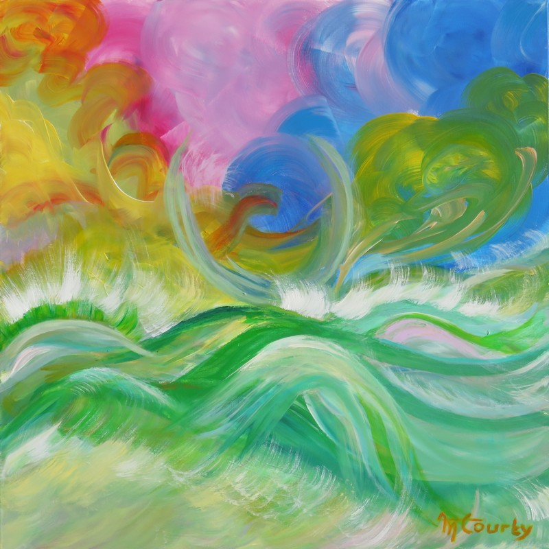 Lumière marine : peinture acrylique sur toile 80 x 80 cm