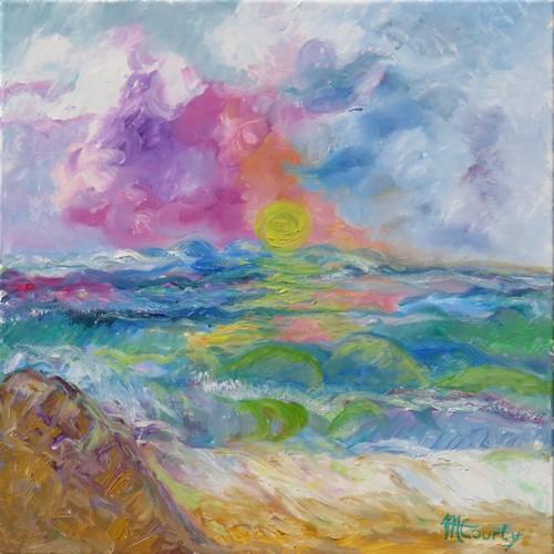 Lumière marine3 : Peinture à l`huile sur toile 50 x 50 cm