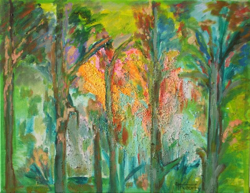 Lumière forestière : peinture acrylique sur toile 65 cm x 50 cm
