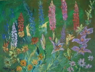 Lupins : peinture acrylique sur toile 61 x 46 cm , Avril 2013 Fleurs
