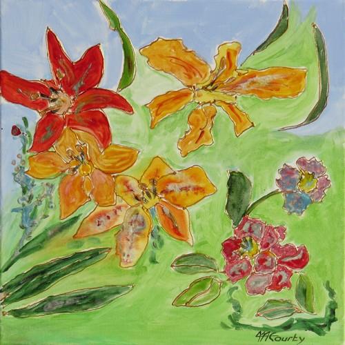 Lys : peinture acrylique et vitrail sur toile 40 x 40 cm