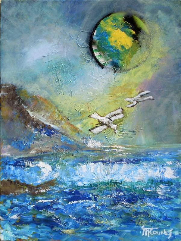 Marine nocturne : peinture acrylique sur toile 61 cm x 46 cm