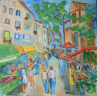 Marché provencal : peinture acrylique sur toile avec collages 80 cm x 80 cm