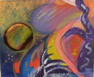 Météorites : peinture acrylique sur toile 46 cm x 55 cm