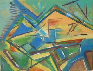 Montagne : peinture acrylique sur toile 65 cm x 50 cm