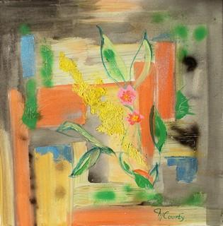 Mur fleuri : peinture acrylique sur toile