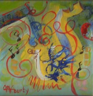 Musicales : peinture acrylique sur toile 30 cm x 30cm