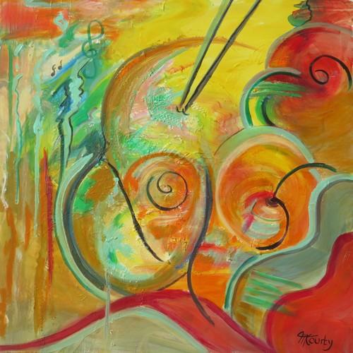Musique : peinture acrylique sur toile 80 x 80 cm