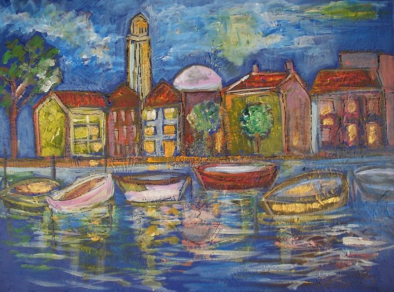 Nuit sur le port : peinture acrylique sur toile 61 cm x 46 cm