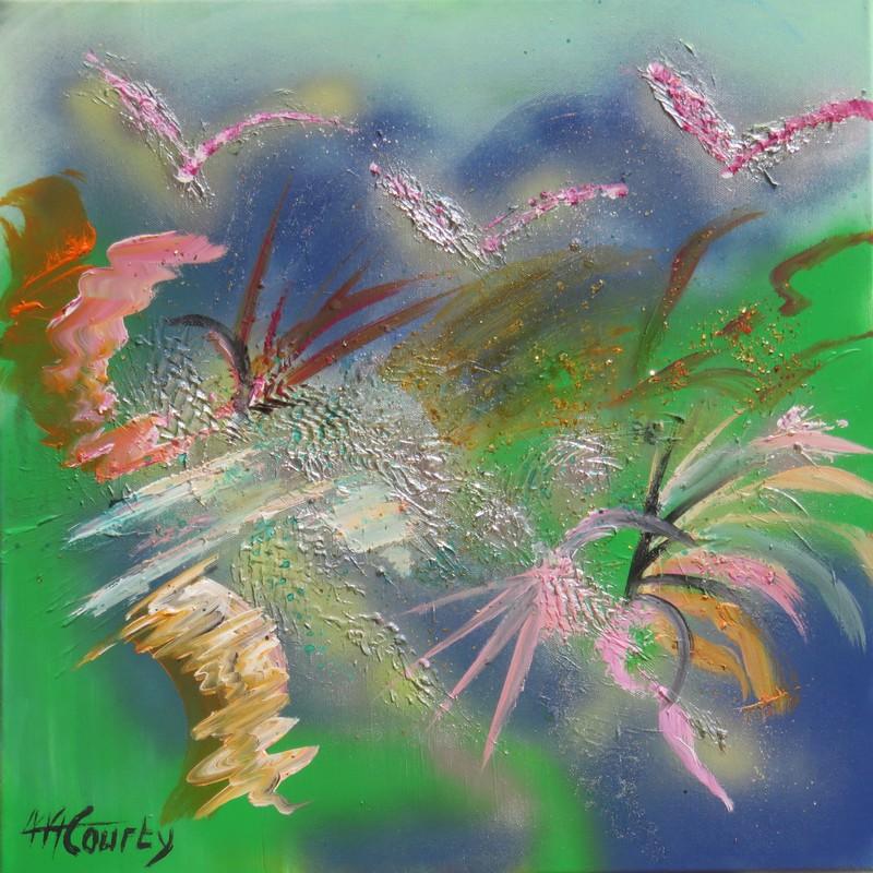Les oiseaux sauvages : peinture acrylique sur toile 50 x 50 cm