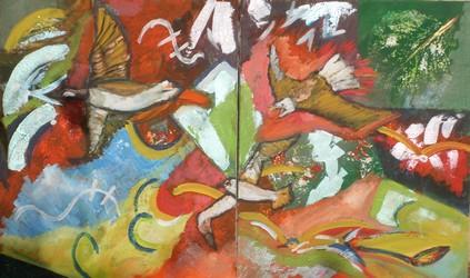 les oiseaux : Peinture acrylique sur toile Diptyque : 2 fois 46 cm x 55 cm