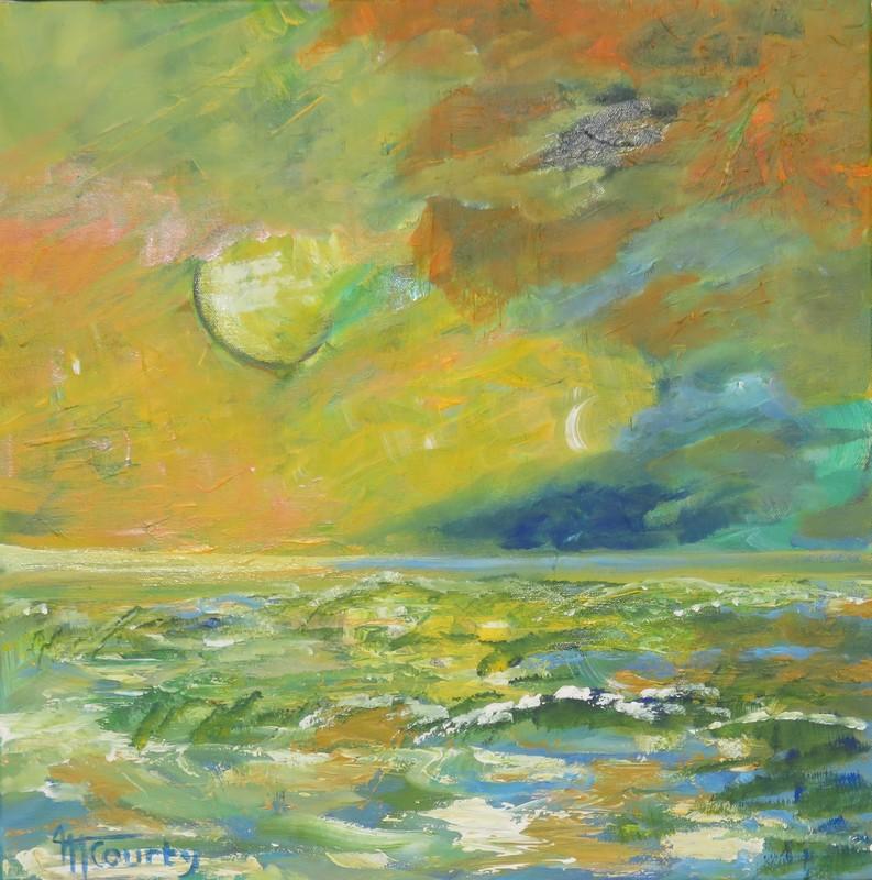 Orage en mer : peinture acryique sur toile 50 cm x 50 cm