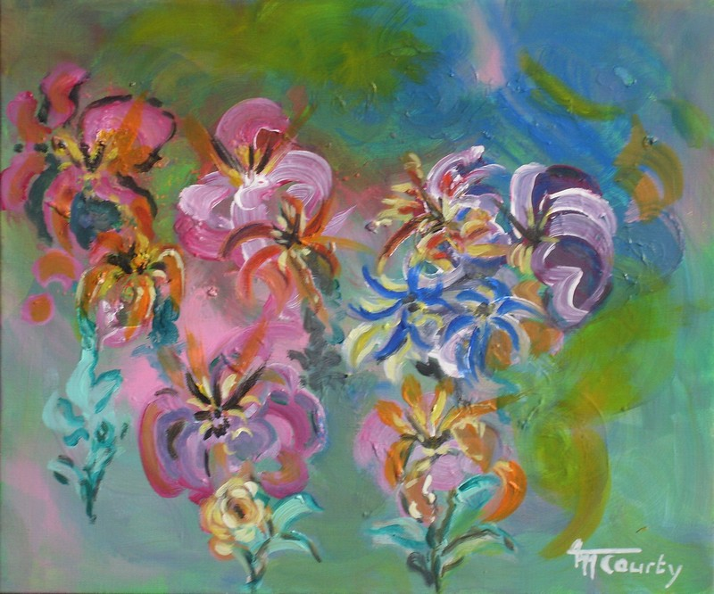 Orchidées et lys : peinture acrylique sur toile 55 cm x 46 cm