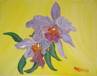 Orchidées : peinture acrylique sur toile 46 cm x 55 cm