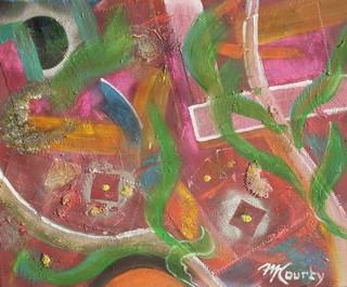 Patchwork : peinture acrylique sur toile 55 cm x 46 cm mixed media