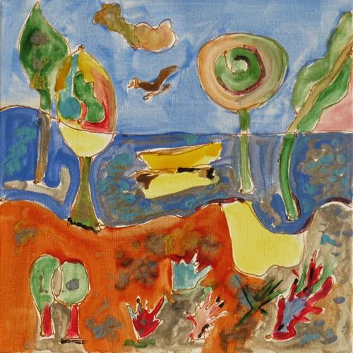 Paysage côtier : peinture acrylique et vitrail sur toile 30 x 30 cm