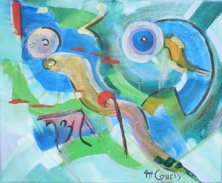 Pêche : peinture acrylique sur toile 38 cm x 46 cm